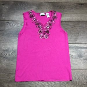 Laura Ashley Pink Bedazzled Tank Top Petite Small